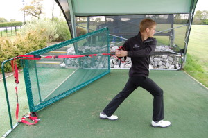 golfer flexibility exercise with trx trainer