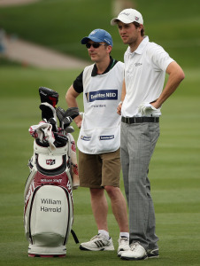 Bob Wood caddying for William Harrold